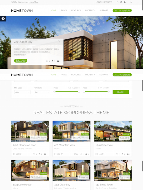 Hometown 1 Real Estate WordPress Theme